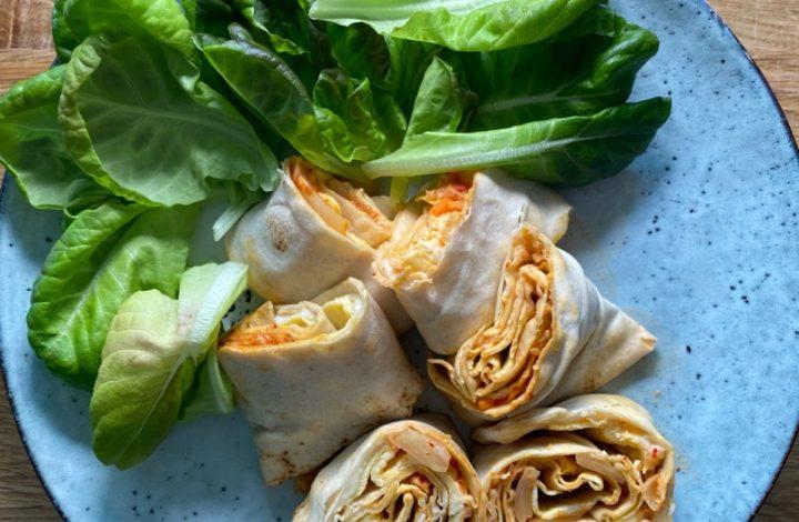 Omelett- och tortillarulle med Kimchi