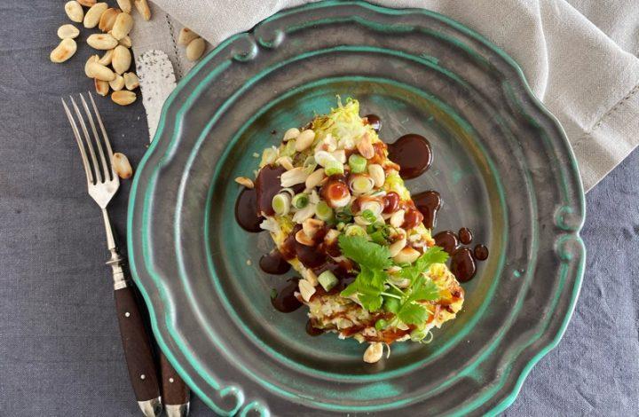 Ris- och spetskålsomelett