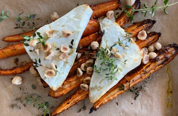 Ugnrostade morötter med bakad fetaost och hassenötter